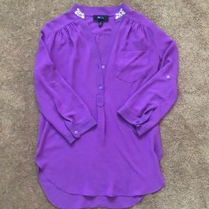 Beautiful sheer purple polyester blouse